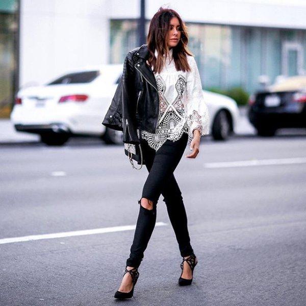 black, clothing, footwear, jacket, leather,