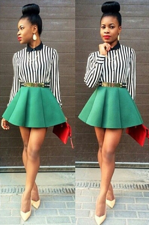 Striped Top + Bright Skirt