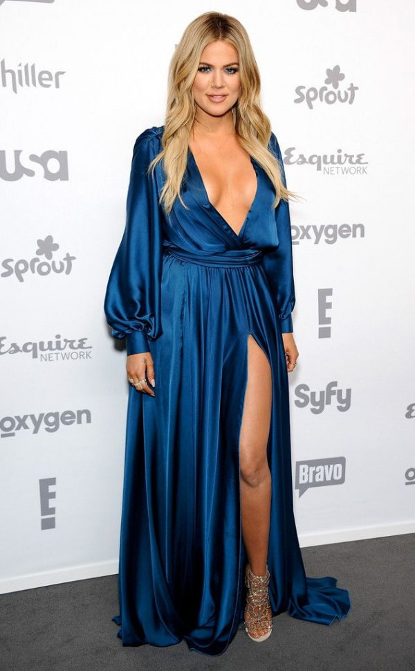 12. Blue Satin Dress - Get Some Style Inspiration with Khloe…