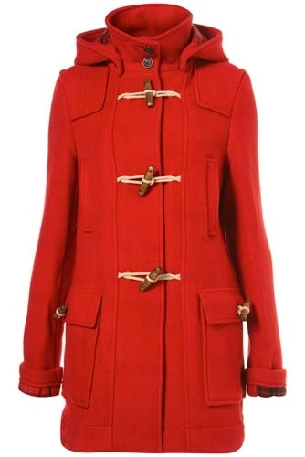 Topshop Red Bound Seam Duffel Coat