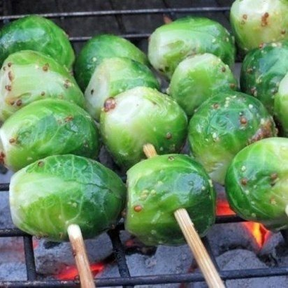 Grilled Brussels Sprouts with Whole Grain Mustard