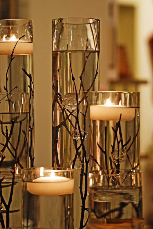 Simple Dollar Store Vases, Branches, Water, and Floating Candles