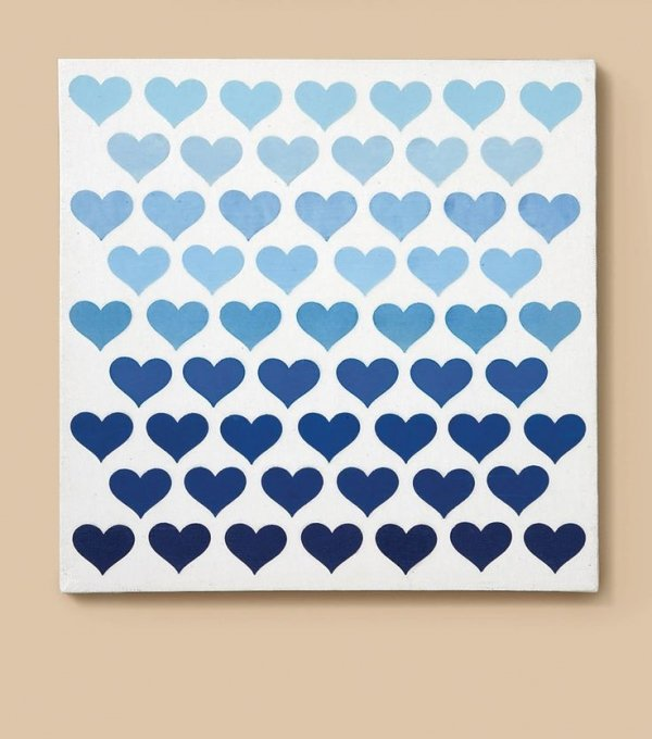 Ombré Hearts Canvas Art