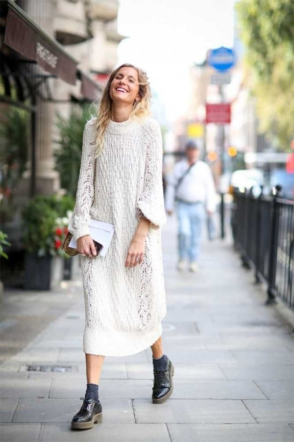 Maxi Sweater Dress - 11 Dreamy All-white Street Style Ensembles…