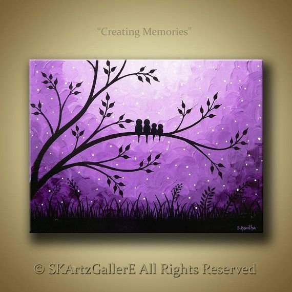 family of birds on tree 31 paintings you can copy for your own. Black Bedroom Furniture Sets. Home Design Ideas