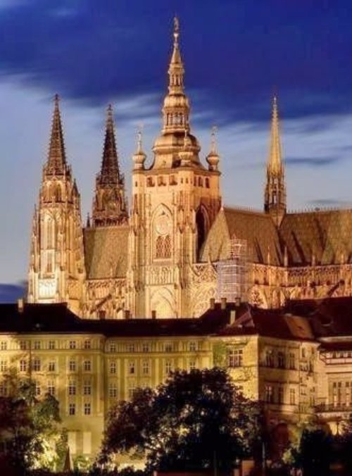Praha, skyline, city, spire, horizon,