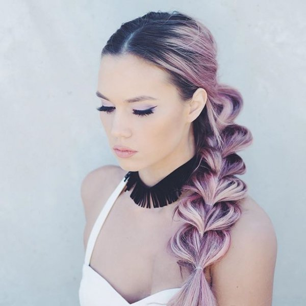 hair, face, hairstyle, purple, pink,