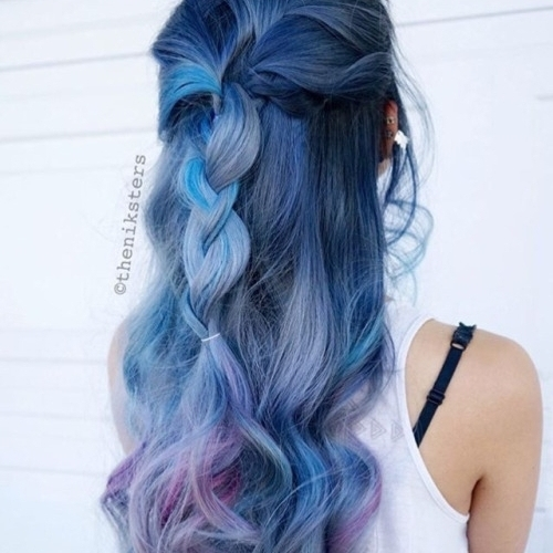 hair, hairstyle, long hair, lavender, turquoise,