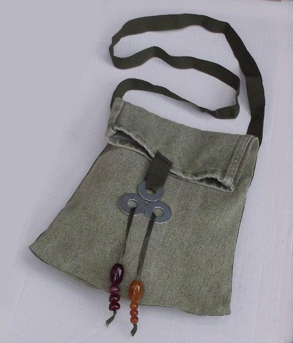Green Denim Shoulder Bag