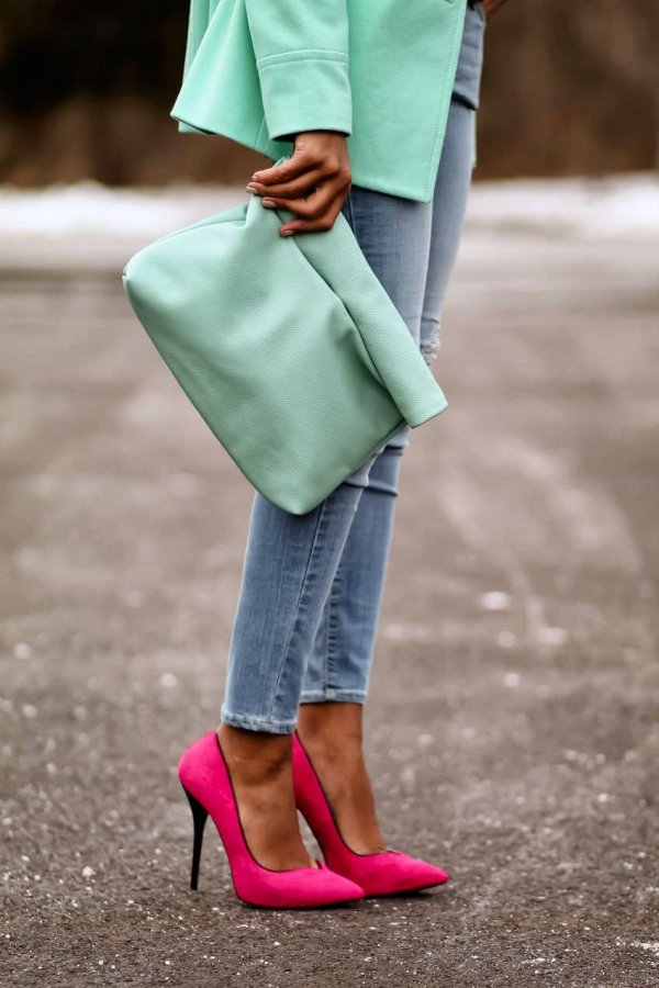 color,footwear,clothing,green,pink,