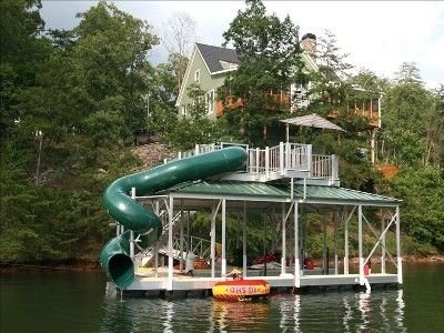 Two Story Private Dock With Waterslide And Diving Heck