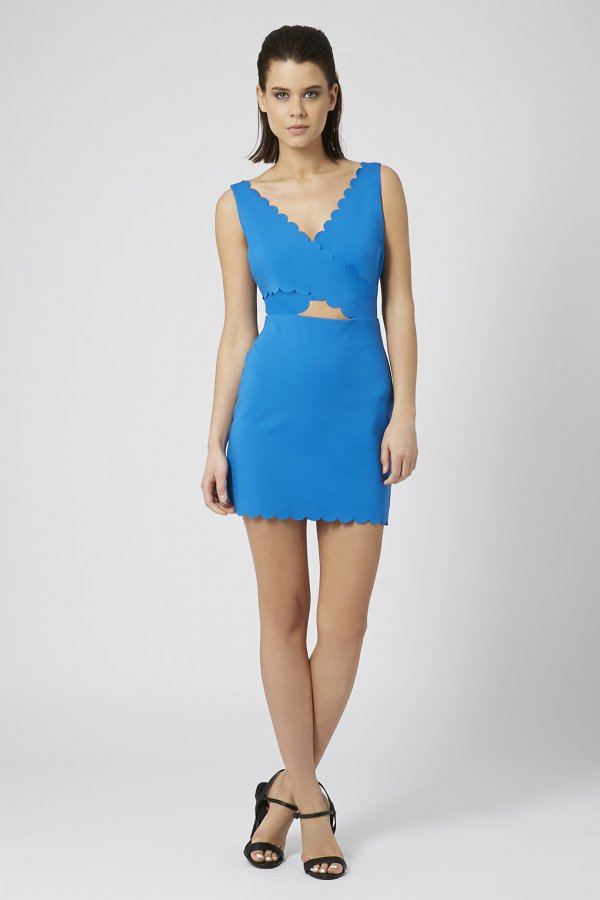 Topshop Scallop Cutout Bodycon Dress