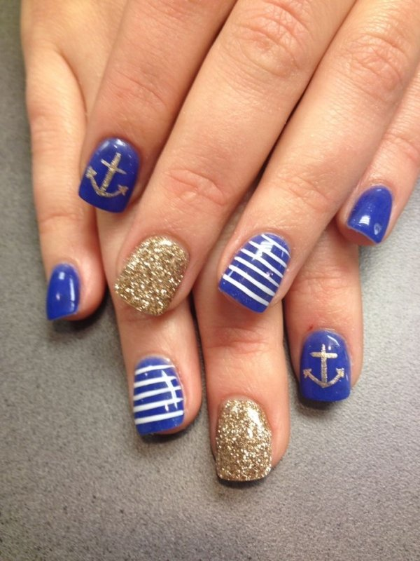 24 fancy nail art designs that youll love looking at all day long via 21 fashionable nail art design nautical stripes in blue and white are perfect the anchor ramps up the cool factor prinsesfo Gallery
