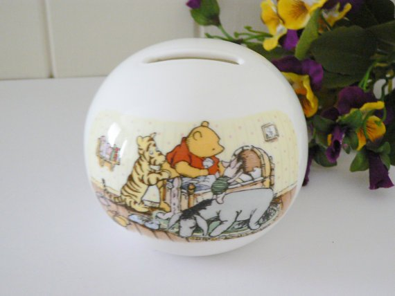 Winnie the Pooh Vintage 1990's Globe Money Box by Royal Doulton