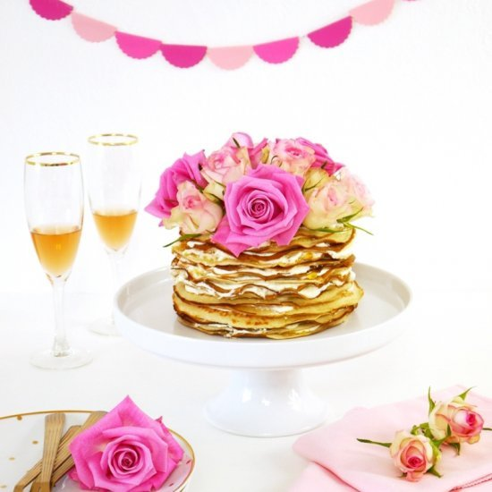 Crepe Cake with Rosewater & Marmalade