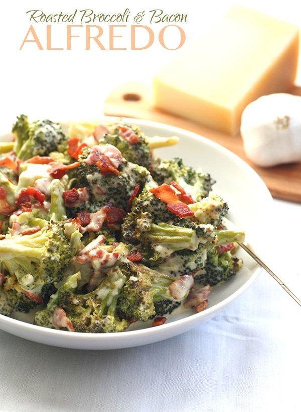 Roasted Broccoli Alfredo with Bacon