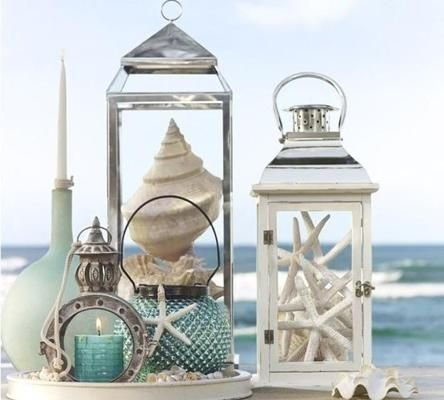 Fill Glass Lanterns with Shells