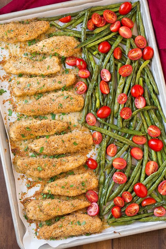 One Pan Roasted Garlic Parmesan Chicken Tenders and Green Beans