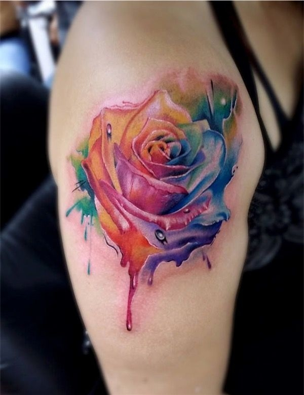 11 rainbow colored rose 30 gorgeous tats for girls who crave ink. Black Bedroom Furniture Sets. Home Design Ideas