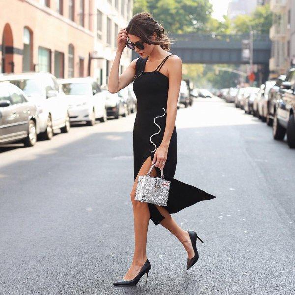 black, clothing, dress, footwear, little black dress,