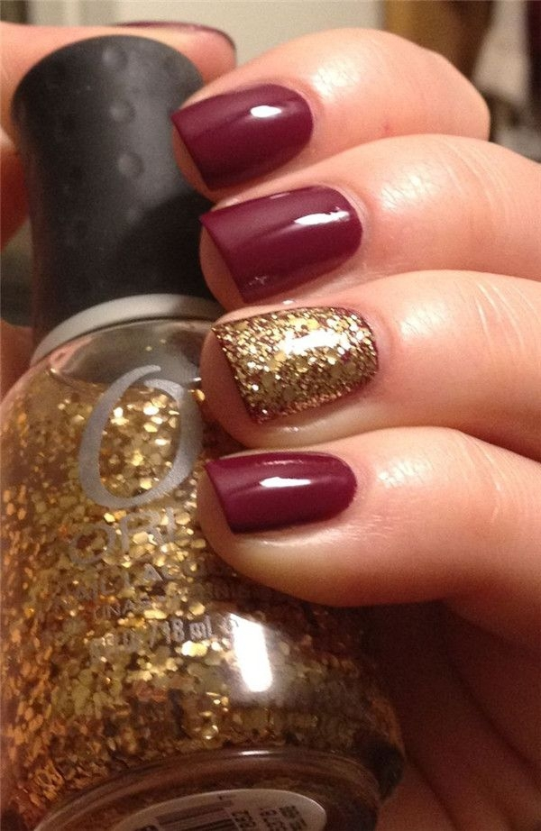 Nail Art Maroon And Gold: Gallery for gt maroon and gold acrylic nails.