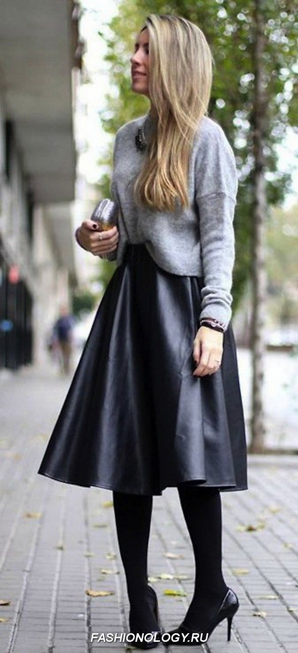 17 Ways to Wear a Faux Leather Skirt ... → 👗 Fashion