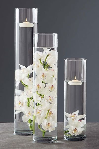White Flowers with Candles