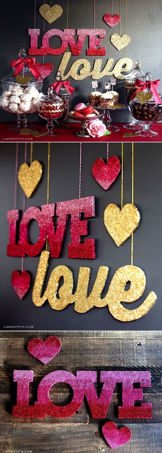 Glitter Love Banners in Gold and Ombre