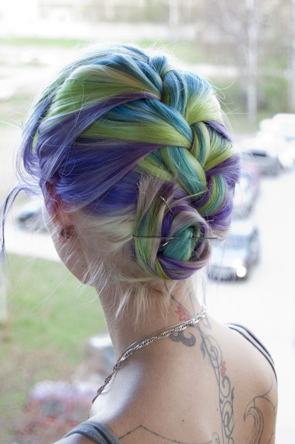 Rainbow Dip Dyed Hair in Blues and Greens