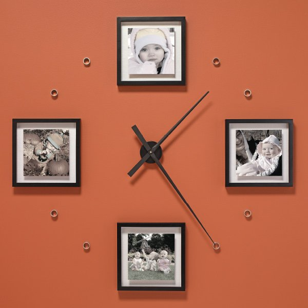 a photo wall and a diy giant clock in one