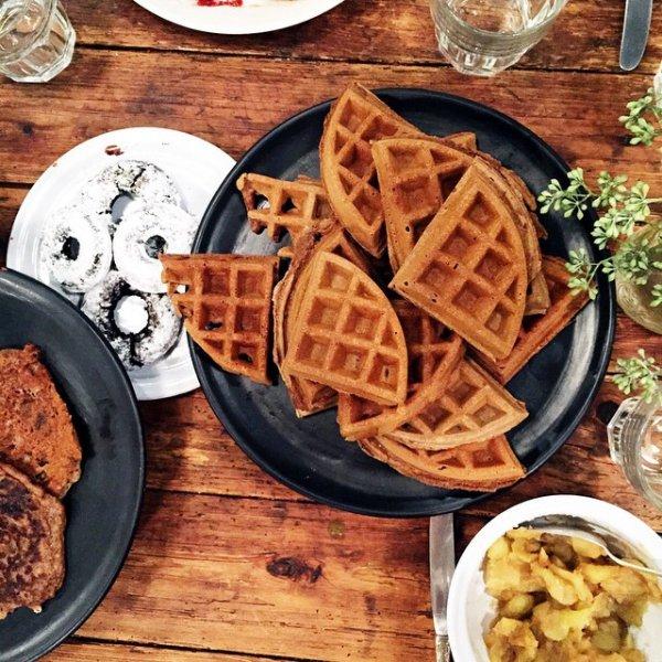 dish, food, meal, breakfast, waffle,