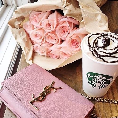 Starbucks, pink, flower,