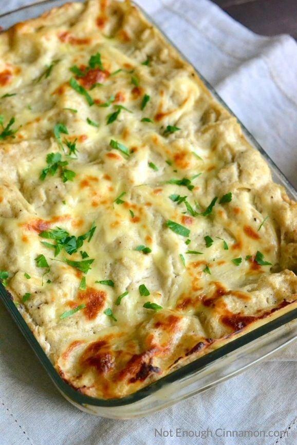 Skinny Chicken Alfredo Lasagna