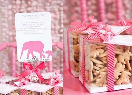 Pink Elephants Baby Shower Theme.
