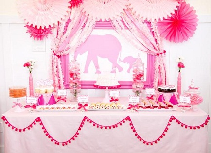 Pink Elephants Baby Shower Theme...