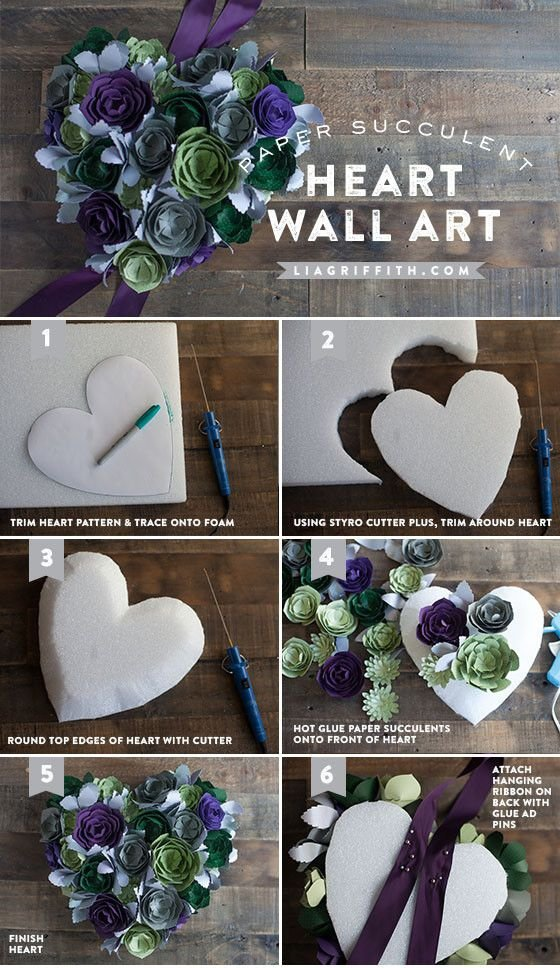 Paper Succulent Heart Wall Art