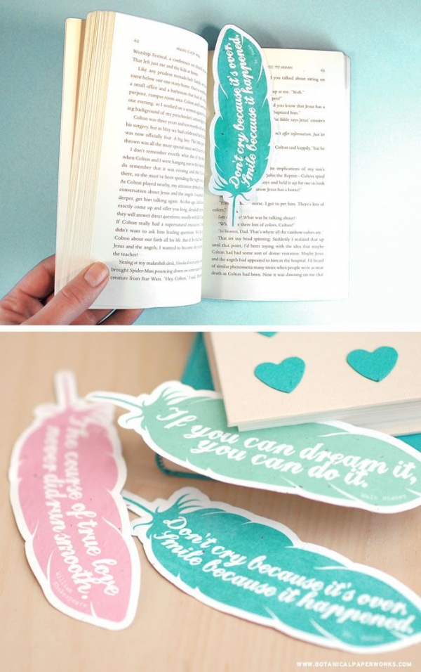 15 Quote Feathers Bookmark Save My Page 30 Cute DIY
