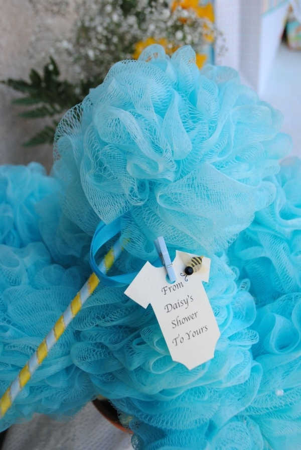 Blue bathroom decorations - Shower Poofs In Pink Or Blue Adorable Baby Shower Favors That