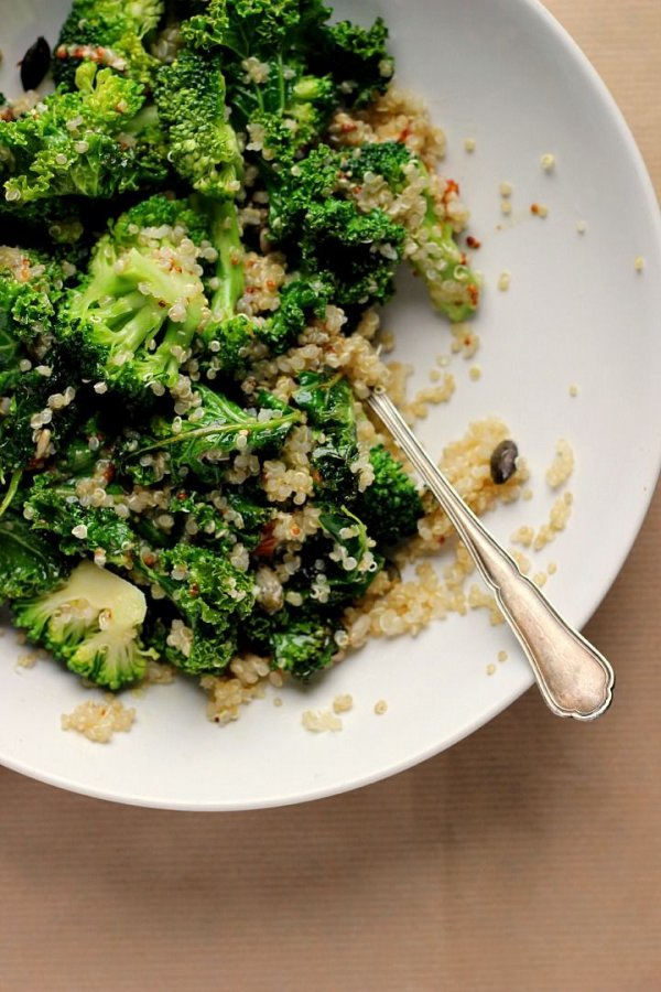 Warm Kale, Quinoa Broccoli Salad with Cider Mustard Dressing