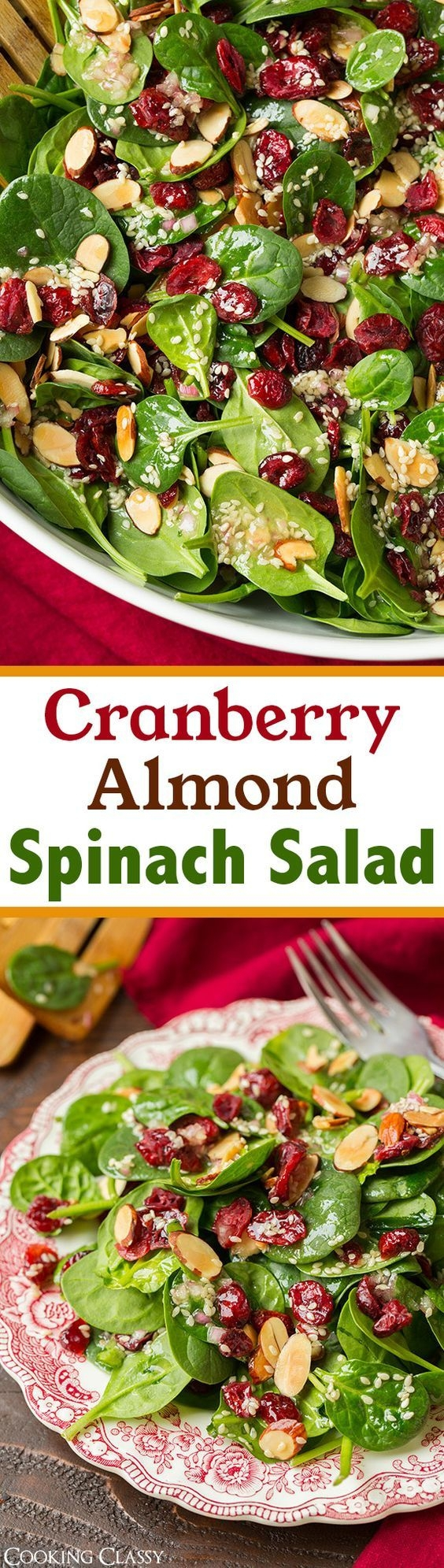 Cranberry Almond Spinach Salad