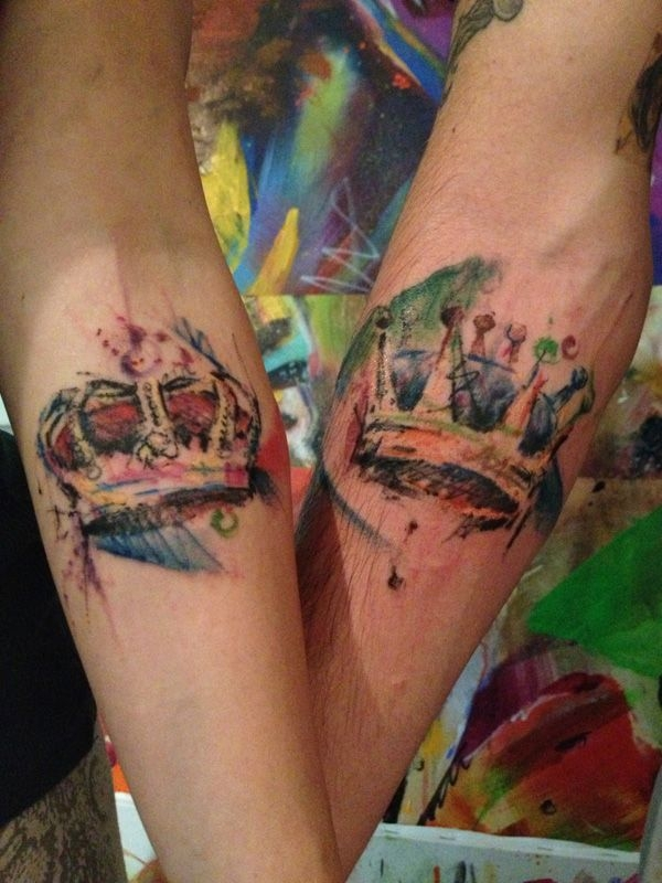 18 watercolor crown tattoos 32 of the best couples tattoos you 39 ll. Black Bedroom Furniture Sets. Home Design Ideas