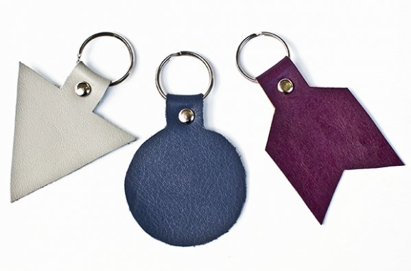 Fun shapes 8 lovely diy leather key fobs you can make for Leather shapes for crafts