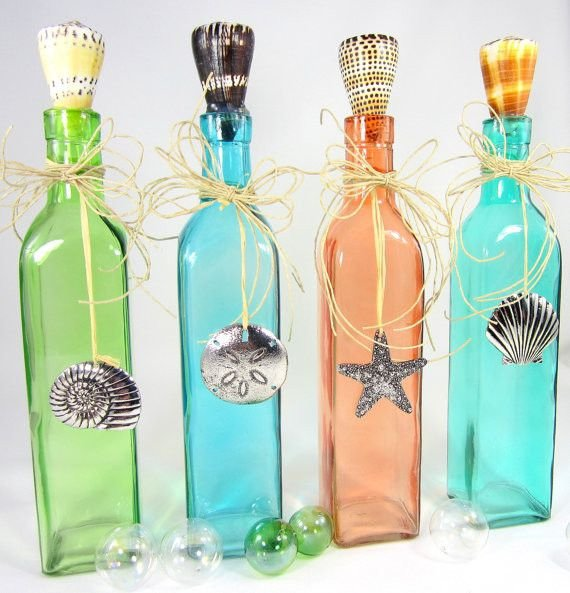 decorate colored glass bottles amazing nautical decorating