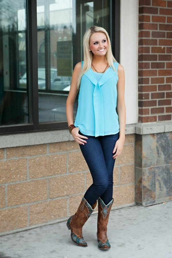 2. Worn over Skinny Jeans - 10 Ways to Wear Cowboy Boots ... → 👗…