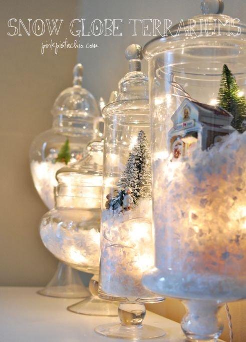 Diy snow globes with christmas lights 31 diy snow globes for Easy homemade christmas snow globes