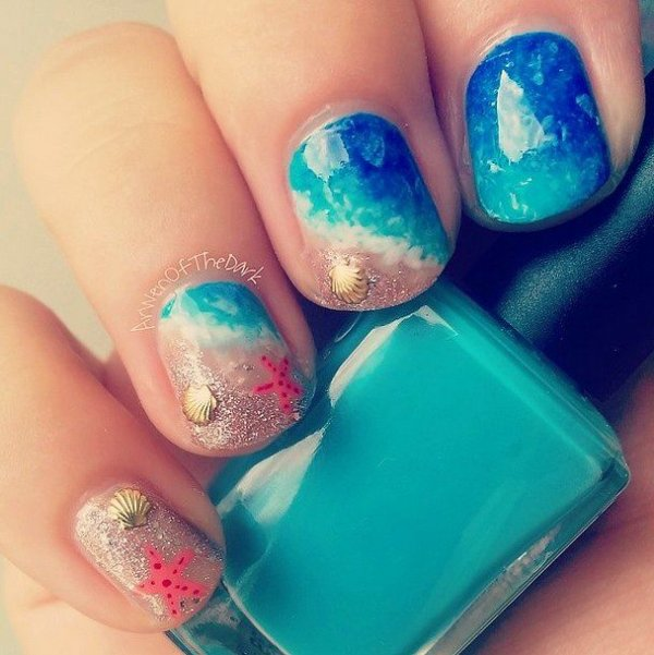 Make a splash 40 awesome beach themed nail art ideas to make colornailfingerbluegreen prinsesfo Image collections
