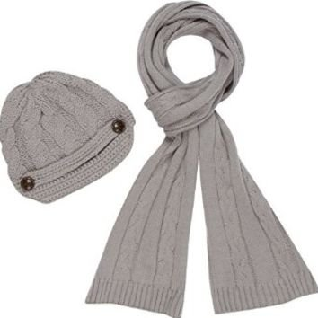 Sakkas Women's 2-piece Cable Knitted Visor Beanie Scarf and Hat Set with Button