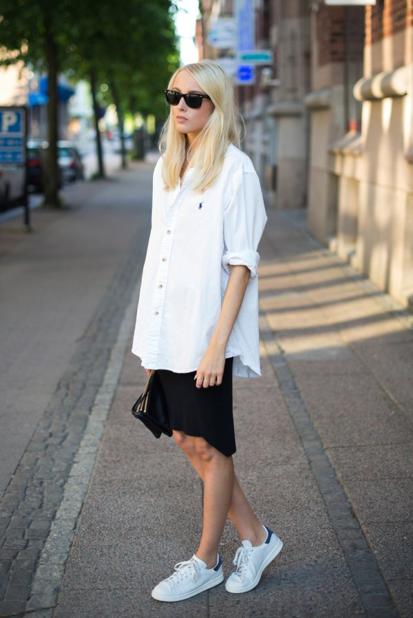 Ready for the Weekend: Oversized Shirt and Black Skirt