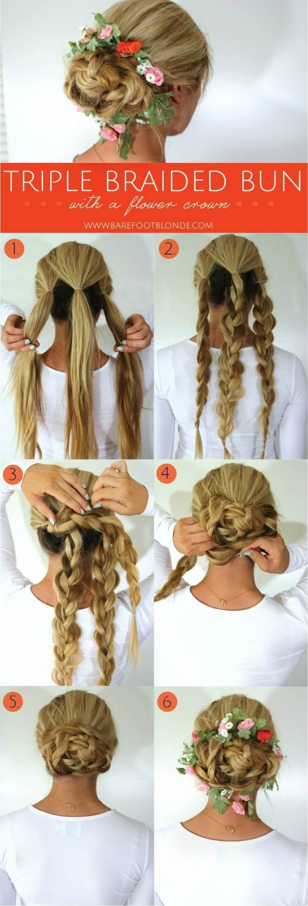 2 Triple Braided Bun 43 Fancy Braided Hairstyle Ideas From