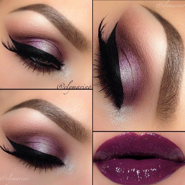 9. Shiny Purple Lips with Purple Eye Shadow